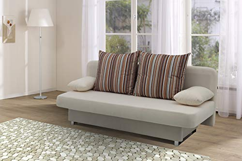 Collection AB Schlafsofa Orlando 186 x 85 cm, Mikrofaser, beige