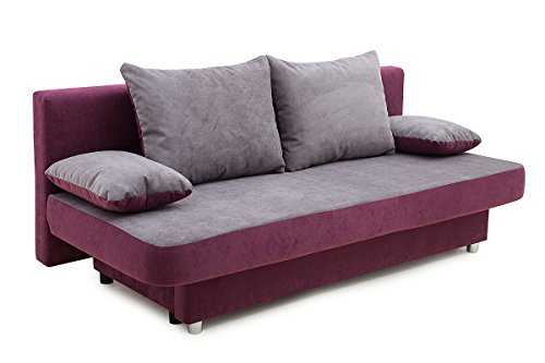 Collection AB 100705 Schlafsofa, Stoff, aqua / grau, 85 x 186 x 77 cm