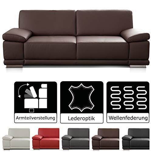 Cavadore Leder- und Kunstledersofas Corianne / hochwertige Sofas mit modernem Design / mit Armteilverstellung…