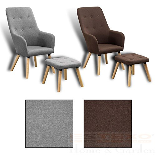 Estexo Home and Garden Fernsehsessel + Hocker TV Sessel Lounge Relaxsessel Polstersessel Lesesessel (Braun)