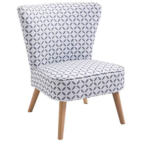 HOMCOM Cocktailsessel Loungesessel Esszimmerstuhl mit Rückenlehne Polstersessel Leinen Sessel Holz Grau-Weiß Gemustert…