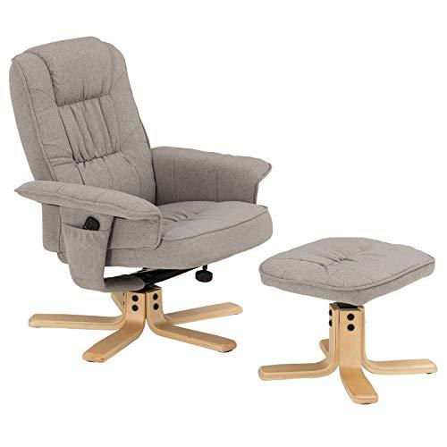 IDIMEX Relaxsessel mit Hocker Charly, Fernsehsessel, Drehsessel, Polstersessel, Sessel mit Stoffbezug in grau