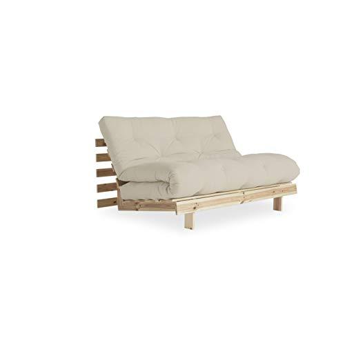 Karup Design Roots | 2 sitzer Futon Schlafsofa im skandinavischen Stil, Natur Holz Matratze 140 x 200| Kiefer, FSC Mix Zertifiziert Gestell: nordische, 20 x 140 x 200