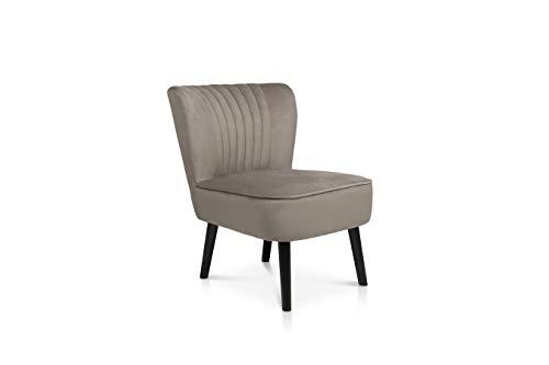 LIFA LIVING Vintage Polstersessel Samt, Esszimmerstuhl gepolstert, Samthocker Sessel für Küche, Wohnzimmer, schwarzes Holz, 100kg Belastbarkeit