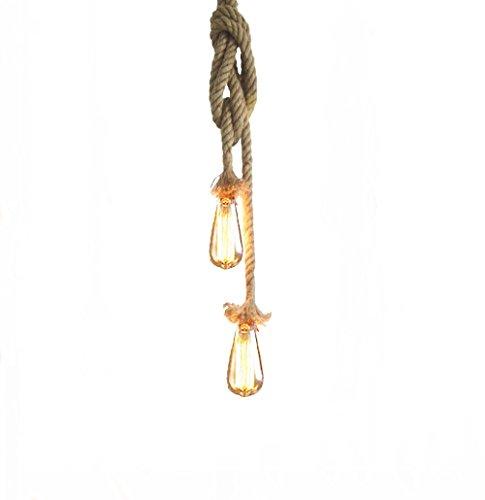 Lixada AC220V E27 Doppel Kopf Jahrgang Hanfseil Hängend Decke Lampe(ohne Birne)