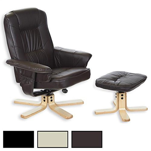 IDIMEX Relaxsessel mit Hocker Charly, Fernsehsessel, Drehsessel, Polstersessel, Sessel in beige Creme weiß