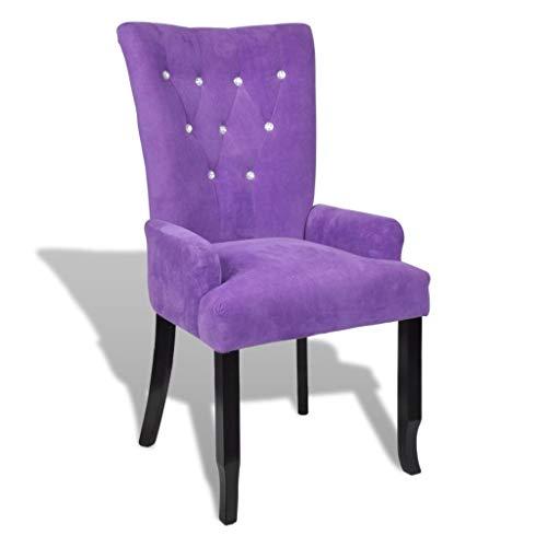 WT Trade Design Sessel mit Armlehnen und SAMT-Bezug | Polstersessel | mit Eiche-Holzrahmen | barock Esszimmerstuhl Vintage Polsterstuhl | Antik