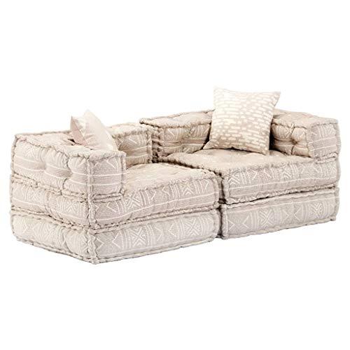 vidaXL Pouf 2-Sitzer Modular Sitzpouf Sitzkissen Sofa Bodenkissen Loungesofa Polstersofa Schlafsofa Sofabett Gästebett…
