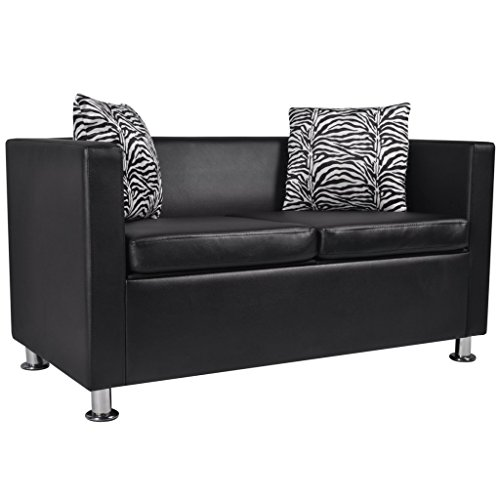 vidaXL Sofa 2-Sitzer Kunstleder Loungesofa Couch Sitzmöbel + Kissen schwarz/weiß