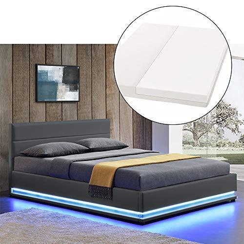 ArtLife LED Polsterbett Toulouse 140 × 200 cm mit Matratze, Lattenrost & Bettkasten - Kunstleder Bezug & Holz Gestell - grau - Bett Jugendbett