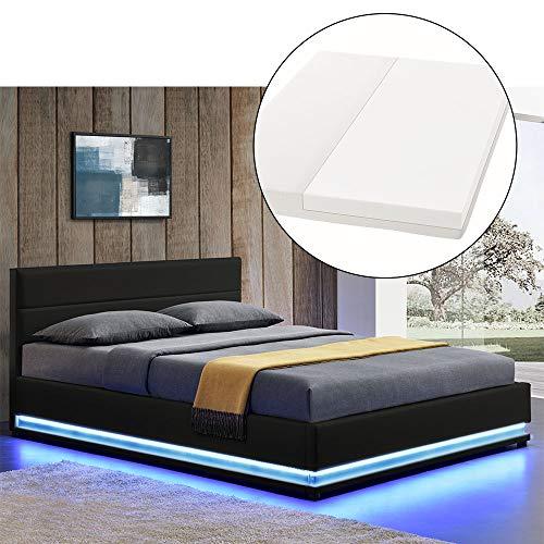 ArtLife LED Polsterbett Toulouse 140 × 200 cm mit Matratze, Lattenrost & Bettkasten - Kunstleder Bezug & Holz Gestell - schwarz - Bett Jugendbett