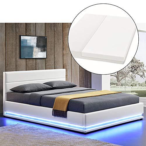ArtLife LED Polsterbett Toulouse 180 × 200 cm mit Matratze, Lattenrost & Bettkasten - Kunstleder Bezug & Holz Gestell - weiß - Bett Doppelbett