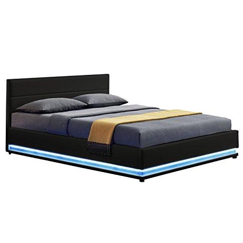 ArtLife LED Polsterbett Toulouse 140 × 200 cm mit Bettkasten & Lattenrost - Kunstleder Bezug & Holz Gestell – weiß…