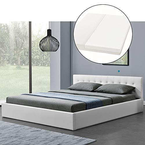 ArtLife Polsterbett Marbella 180x200 cm mit Matratze, Bettkasten & Lattenrost – Bett aus Kunstleder und Holz…