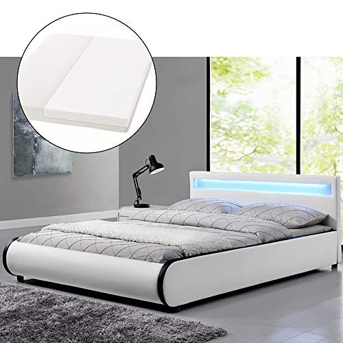 ArtLife Polsterbett Sevilla 140 x 200 cm - Französisches Bett mit Matratze, Lattenrost & LED - Holz & Kunstleder - weiß - Jugendbett Gästebett