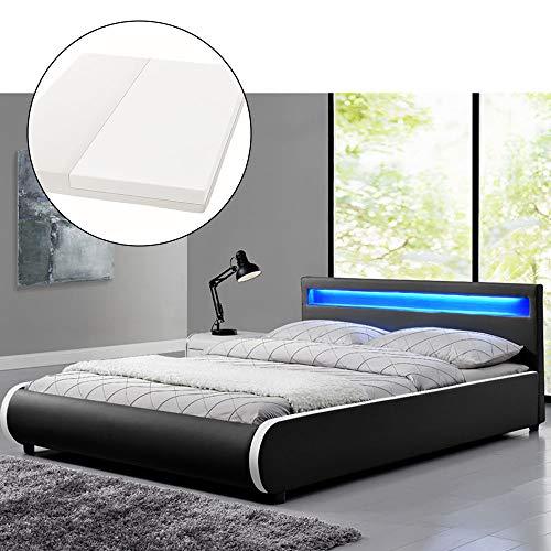 ArtLife Polsterbett Sevilla 180 x 200 cm - Doppelbett mit Matratze, Lattenrost & LED – Holz & Kunstleder - schwarz…