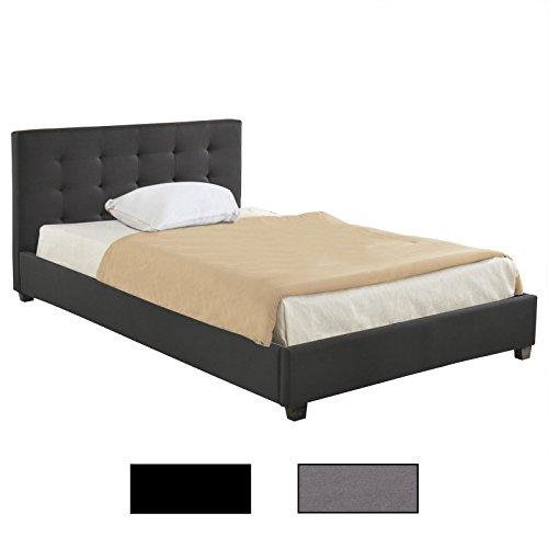 CARO-Möbel Polsterbett Doppelbett Claire grau oder schwarz 120 x 200 cm, inklusive Lattenrost, mit Stoffbezug