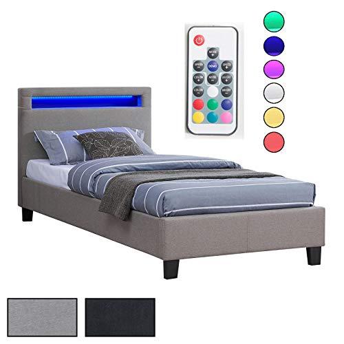 CARO-Möbel Polsterbett Himalaya mit LED Beleuchtung Einzelbett Jugendbett 90 x 200 cm mit Lattenrahmen, in grau…