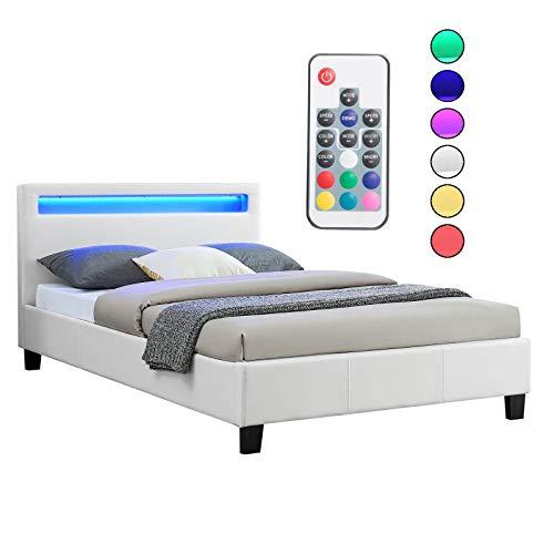 CARO-Möbel Polsterbett MIRASOL mit LED Beleuchtung Einzelbett Kunstlederbett in weiß, 120 x 200 cm, inklusive Lattenrost