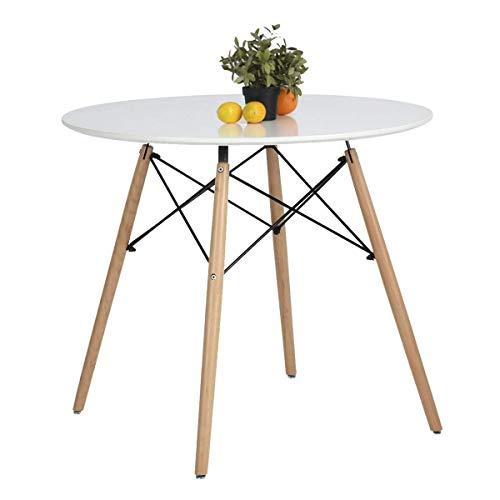 Coavas Esstisch Weiß Rund Küchentisch Modern Büro Konferenztisch Kaffeetisch, Runder Esstisch Freizeit Holz Kaffee Tee…