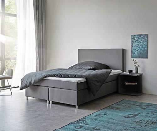 DELIFE Bett Cloud Grau 140x200 cm Matratze und Topper Federkern Boxspringbett