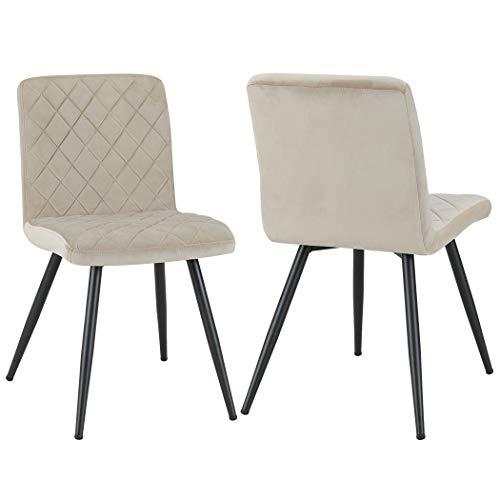 Duhome Esszimmerstuhl aus Stoff Samt Farbauswahl Stuhl Retro Design Polsterstuhl mit Rückenlehne Metallbeine 8043L
