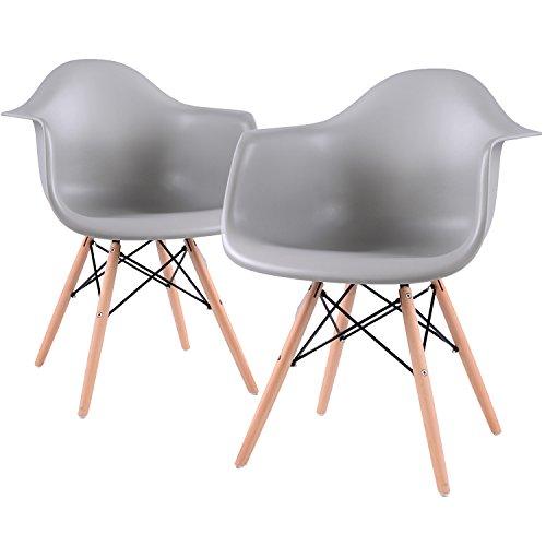 EGGREE Lot von 2 Esszimmerstuhl, Retro Stuhl Beistelltisch mit solide Buchenholz Bein - Schwarz