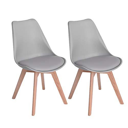 EGGREE 2er Set Esszimmerstühle mit Massivholz Buche Bein, Retro Design Gepolsterter lStuhl Küchenstuhl Holz, Grau