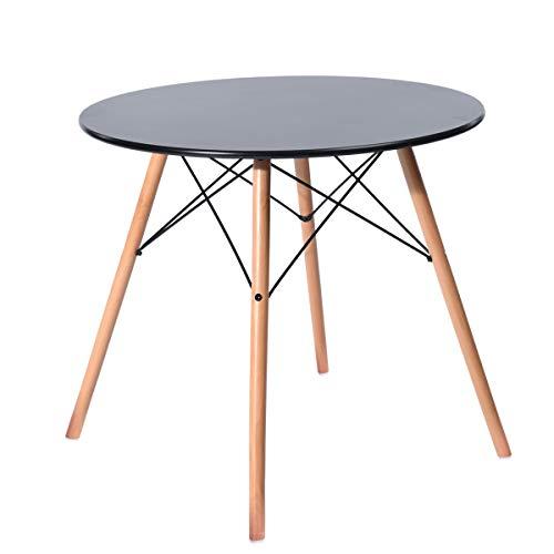 H.J WeDoo Glastisch Tischplatte Runder Esstisch Buchenholz Esszimmer Tisch Küchentisch Wohnzimmertisch, 80 * 80 * 75 cm, 4 Beine Natur, Transparent