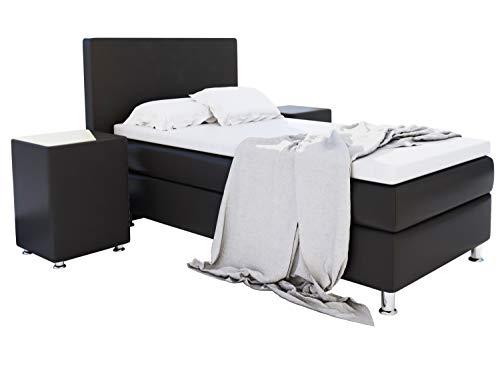 Home Collection24 GmbH Boxspringbett 90x200 cm mit Federkern-Matratze Topper in H3 Hotelbett Einzelbett aus hochwertigem…