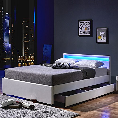 Home Deluxe - LED Bett - Nube - Weiß 140 x 200 inkl. Ortho Basic Matratze - inkl. Schublade