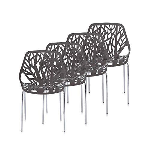 Makika Retro Stuhl Design Stuhl Esszimmerstühle Bürostuhl Wohnzimmerstühle Lounge Küchenstuhl Sitzgruppe 4er Set aus…