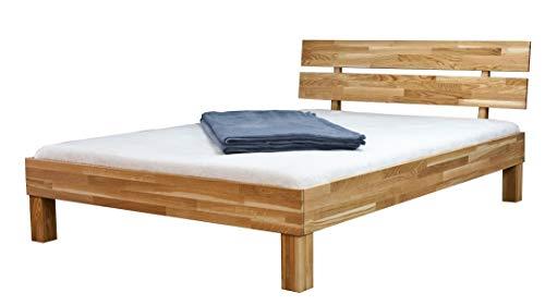 MeinMassivholz Massivholzbett/Holzbett Buche/Wildeiche/Nussbaum Typ Palma Made in Germany Doppelbett/Einzelbett versch. Größen 90x200 cm - 200x200 cm
