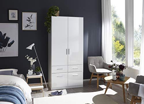 Rauch Möbel Salvador Schrank Kleiderschrank Drehtürenschrank, Weiß, 2-türig mit 4 Schubladen, inkl. Zubehörpaket Basic 1…