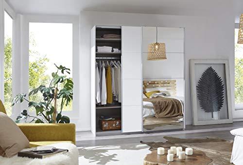 Rauch Möbel Caracas Schrank Kleiderschrank Schwebetürenschrank Weiß mit Spiegel 2-türig inkl. Zubehörpaket Basic 2…