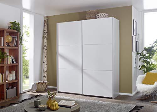 Rauch Möbel Santiago Schrank Schwebetürenschrank Weiß 2-türig inkl. Zubehörpaket Basic 2 Einlegeböden, 2 Kleiderstangen…