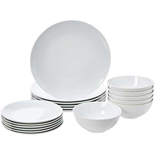 AmazonBasics - Geschirrservice, 18-teilig, Weiß Porzellan, für 6 Personen