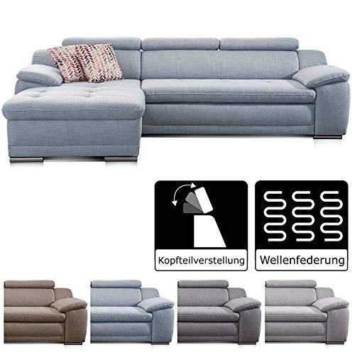 Cavadore Ecksofa Aniamo mit XL-Longchair rechts / Eckcouch mit Kopfteilfunktion im modernen Design / Sitzecke für…