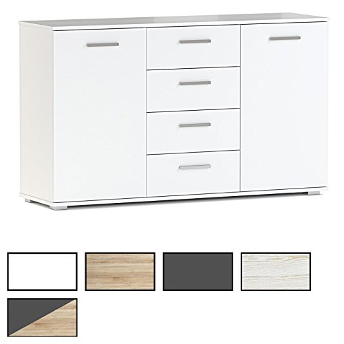 CARO-Möbel Kommode Sideboard Highboard Chicago 2 Türen und 4 Schubladen