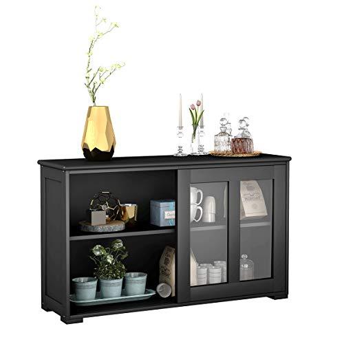 COSTWAY Sideboard mit höhenverstellbarer Ablage, Anrichte mit Glas Schiebetüren, Küchenschrank, Highboard, Buffet…