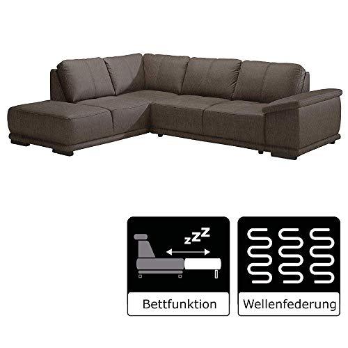 Cavadore Ecksofa Calypse mit Ottomanen links / Braunes Sofa in L-Form im modernen Design / 273 x 83 x 214…