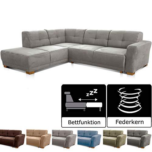 Cavadore Schlafsofa Modeo, mit Federkern, Sofa in L-Form mit Schlaffunktion im modernen Landhausstil, Holzfüße, 261 x 77…