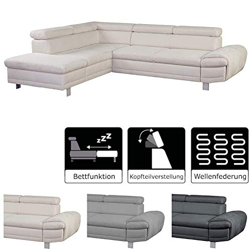 CAVADORE Schlafsofa Marool mit Kopfteilverstellung / Großes Mikrofaser-Sofa im modernen Design / 283 x 79 x 229 / Beige