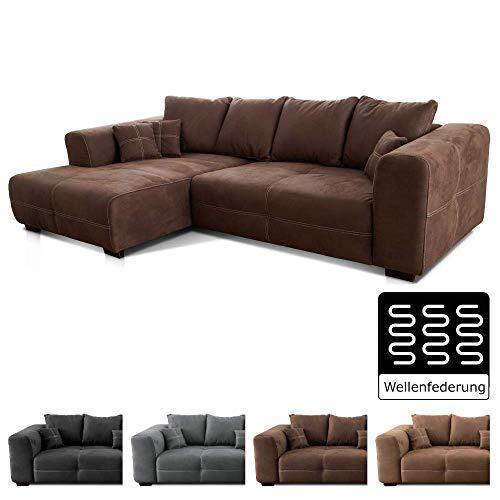 Cavadore Ecksofa Mavericco / XXL Eckcouch Inkl. Rückenkissen und Zierkissen / Longchair links / Industrial Style / 285 x…
