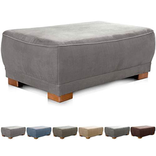 """Cavadore Sofa-Hocker """"Modeo"""" / Sitzhocker für Sofa mit moderner Kontrastnaht / Hochwertiger Mikrofaser-Bezug in Wildlederoptik / Holzfüße / Maße: 100x40x66 cm (BxHxT)"""