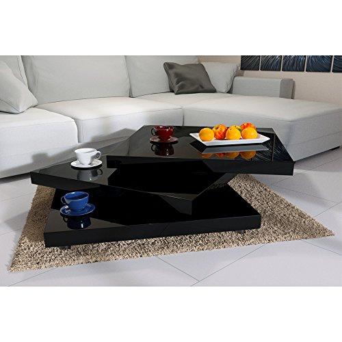 Deuba Couchtisch Wohnzimmertisch 60x60 cm Hochglanz Schwarz - Tischplatte 360° drehbar modern - Beistelltisch Sofatisch…
