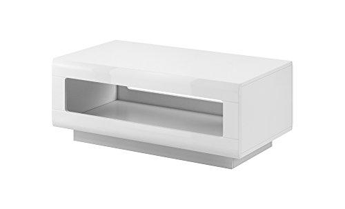 Furniture24 Couchtisch, Kaffetisch, Sofatisch (Weiß/Weiß Hochglanz)