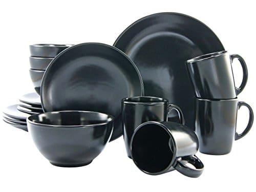 Creatable, 17544, Serie Black Matt, Geschirrset Kombiservice 16 teilig, Steingut, schwarz, 41 x 33 x 31 cm, Einheiten