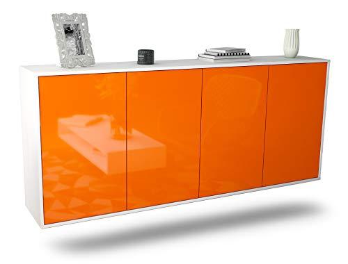 Dekati Sideboard Lakewood hängend (180x77x35cm) Korpus Weiss matt | Front Hochglanz Orange | Push-to-Open