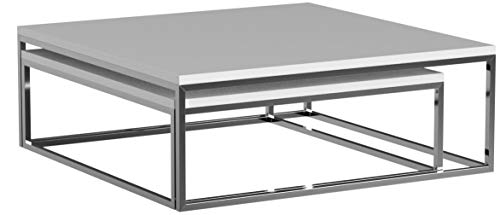 DuNord Design Couchtisch 2 er Set weiß 75 cm und 65 cm Hochglanz Design Beistelltisch Tisch Set